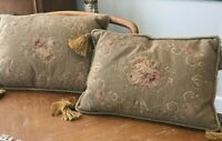 Beautiful LG  Pair of Vintage Lumbar  Needlepoint Pillows - Well Made - Quality!