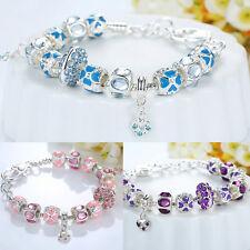Silver Plated European Charms Bracelet Diamante Heart Crystal Bangle Women Girls