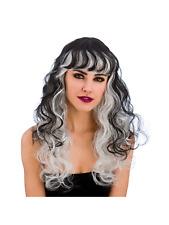 Long Black & Silver STREGATI strega vampiressa donna Parrucca Costume Halloween