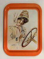 """1972 Vintage Coca Cola Tin Tray """"Girl in Duster"""" Reproduction"""