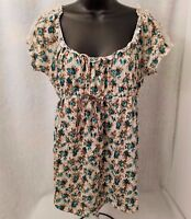 Womens Green Brown Ivory Floral Shirt Top Blouse Size M OR L