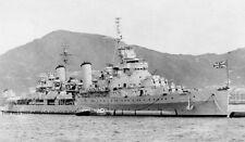 ROYAL NAVY LIGHT CRUISER HMS BELFAST AT HONG KONG IN 1950