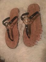 MICHAEL KORS MK BLACK Jelly Cork Charm Sandals Flip Flops sz 9 new
