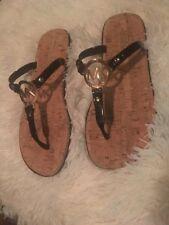 MICHAEL KORS MK BLACK Jelly Cork Charm Sandals Flip Flops sz 8 new