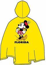 Disney Adult Yellow Minnie Mouse Florida Rain Poncho Keep Dry