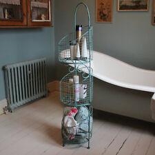 Tall duck egg blue metal 3 tier basket storage unit shabby vintage chic kitchen