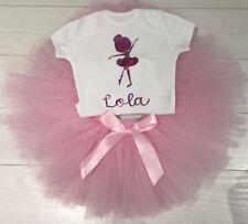 Chicas Bebé Tutú De Ballet Falda Traje & Personalizado Camiseta baile 1st Cumpleaños