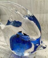 Vintage Art Blown Glass Angel Fish Blue Clear Bubbles Paperweight Collectible