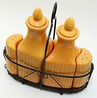 TempTations by Tara Carafe Set Oil & Vinegar Salt & Pepper Orange Ceramic EUC