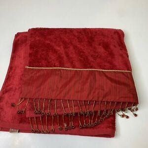 Sherry Kline Bath towel Burgundy red 100% cotton beaded trim 26x49 classic