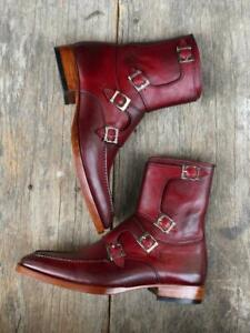Handmade Men Burgundy Buckle Leather Boots, Casual Buckle Up Chelsea Ankle Boot