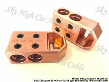 Pair of COPPER Sky High (4) 1/0 or 2/0 Gauge BATTERY TERMINALS BOLT USE ONLY