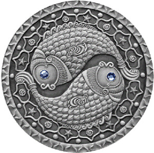 Belarus 2009, PISCES. Sign of the Zodiac, 20 rubles, 1oz Silver, Crystals