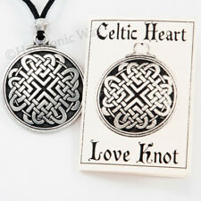True Love Amulet Hearts in Circle Celtic Heart Necklace knot work Pendant