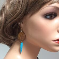 Earrings on 14K Gold Filled Hooks Shell and Turquoise Colored Coral Horn Dangle