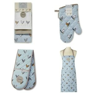 Hens and Hearts: Oven gloves, Tea towels Apron or Gauntlet