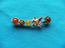 Sterling Silver Multi Coloured Amber Flower Brooch 925