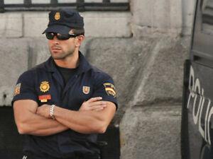 Men Blue Fancy Spanish Police Officer Civil Dress Costume Set  Police