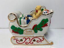 Avon Christmas Holiday Treasures Sleigh Sled Porcelain Ornament 2003 Decor
