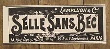 Publicité ancienne Selle sans bec, selle velo,Lampluch 1898,