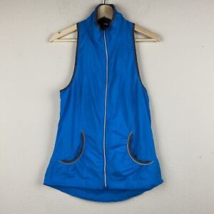 LULULEMON Size 6 Turquoise RUN RECORD BREAKER Reflective Vest Pockets Collar M39