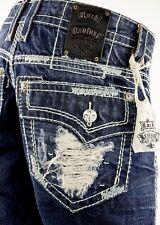 """$220 Mens Rock Revival """"James"""" Destroyed Mint Stitch Faux Straight Leg 36 X 30"""