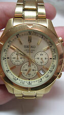SEIKO CRONOGRAPH 100M MENS WATCH STAINLESS STEEL GOLD TONED 6T63-OOGO