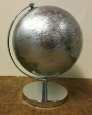 27cm Silver World Globe Vintage Rotating Atlas Office Desk Ornament Home Decor