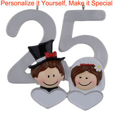 25th Anniversary Couple Personalized Christmas Ornaments DO-IT-YOURSELF