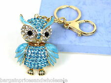 Large Blue Owl Keyring Sparkling Rhinestone Diamante Handbag Buckle Charm