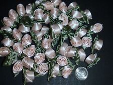 50 Satin Ribbon Roses -Light Peach with Willow Green Leaf-Sewing Bow Craft- New