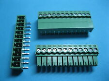 50 pcs 3.5mm Angle 12 pin Screw Terminal Block Connector Green Pluggable Type