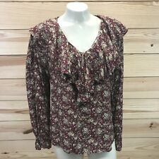 Vtg 90s Express Shirt Small Burgundy Brown Floral Print Long Sleeve Ruffle B78