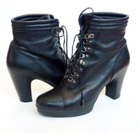 KENNETH COLE 9 to 5 Land Bridge black leather lace up platform BOOTS womens 8.5