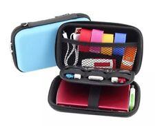 Portable Travel Storage Bag for Digital Gadget Devices USB Cable Data Line Blue