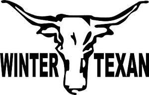 winter texan steer brownsville mcallen donna   l OR R  VINYL DECAL STICKER 299-2