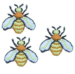 """Mini Hornet Yellow Jacket Applique Patch - Bumble Bee 3/4"""" (3-Pack, Iron on)"""
