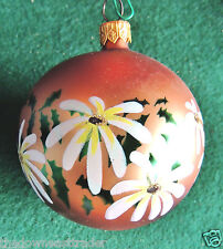 "Traditional Glass Ball Christmas Tree Ornament ~3"" Painted Flowers & Ivy Vintage"