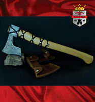 KingForge - 064FD Viking Style Axe Bush Axe Damascus steel head hatched ash gift