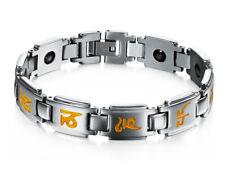 Men Women Religious Stainless Steel Bracelet Buddhist OM Mani Padme Hum Bangle His