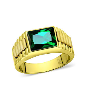 18K Yellow Gold Plated Mens Heavy Silver Ring with Green Emerald Gemstone All Sz