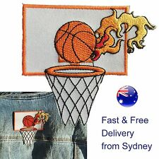 Burning Basketball Iron on patch  - Fast delivery - Embroided hot scoring basket