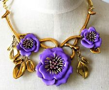 Oscar De La Renta Haute Couture Purple Flower   Necklace