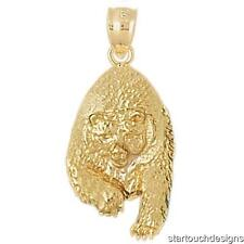 New 14k Yellow Gold Grizzly Bear Pendant