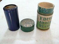 RARE 1909 Edison PHONOGRAPH BLUE AMBEROL WAX CYLINDER RECORD:3890 UNCLE JOSH