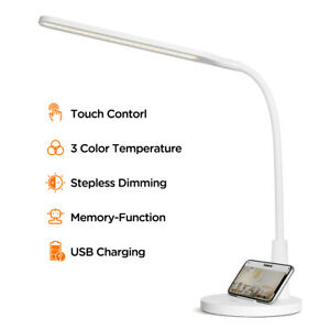 LED Desk Lamp Dimmable Lighting Fixture with USB Charging Port, Phone Stand