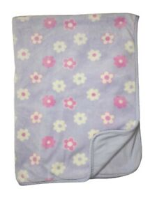 NORTHPOINT Baby Girl Purple Pink White Flower Fleece Blanket 2ply Lovey 111943