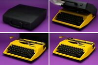 Rare Yellow Vintage 1970s Triumph Tippa Portable QWERTY Typewriter in Case Lemon