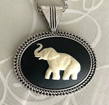 Cream ELEPHANT on Black CAMEO Antique Silver PENDANT NECKLACE Mothers Day Gift