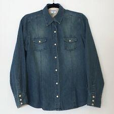 Motherhood Nursingwear Womens Denim Blue Jean Shirt Medium Pearl Snap Maternity